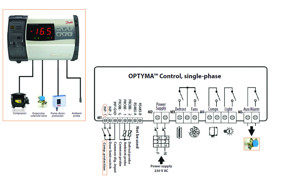 Optyma Controller And The Pump Down Function Danfoss Controls Wiring Diagram Connect Evaporator Solenoid Valve On Aux Relay Is Controlled Directly By Thermostat