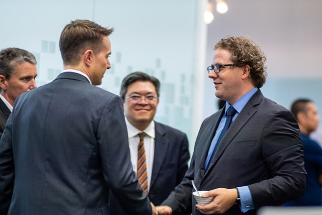 Soren Kvorning (left second) Regional President, Asia Pacific Region Danfoss and Sam Ringwaldt (right first) Vice President-Asia Pacific Smardt Chillers meeting at the office opening
