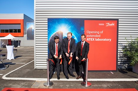 Jürgen Fischer, Fabio Klein and Alexandre Montchamp cut the ribbon to officially open the ATEX lab