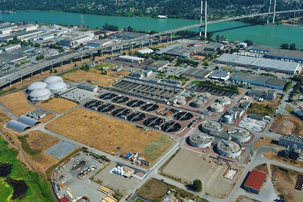 Photo of an aerial shot of a water management plant